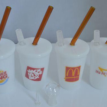 McDonald In N OUT Jack In Box BUGER KING Starbuck Cup Bubbler glass bong bongs water pipes oil rigs rig pipehookah