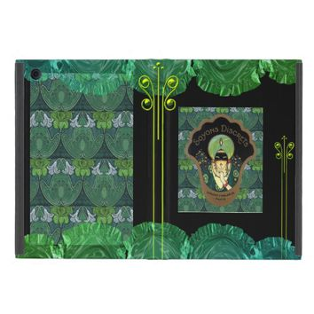 Art nouveau green turban lady ipad mini case