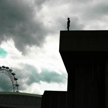 Monochromatic Photograph of the London Eye and Sculpture, Moody Cloudy Sky, London Skyline, Cityscape, Architecture, Wall Art Photography