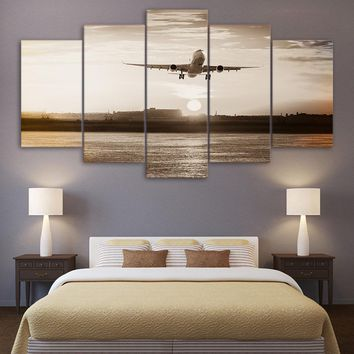 Jet Airplane Landing TakeOff Sunset Sunrise 5 Piece Canvas Art Panel Wall Print