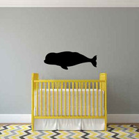 Beluga Whale Silhouette Vinyl Wall Decal Sticker