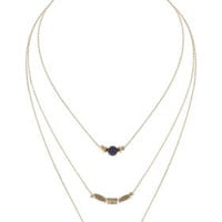 Semi-Precious Choker Multi-Row Necklace - Navy Blue