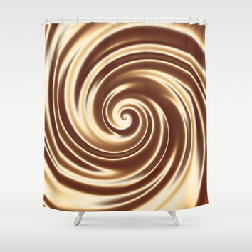 Chocolate milk cocktail spiral Shower Curtain by Natalia Bykova