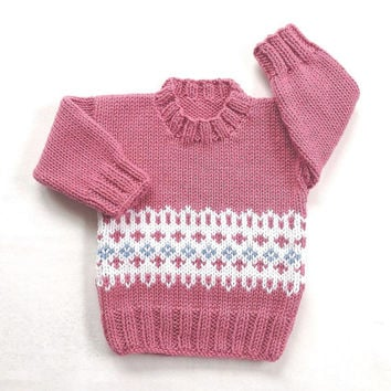 Fair Isle baby sweater - 6 to 12 months - Knit baby jumper - Baby girl knitwear - Infant clothes