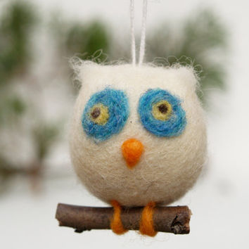 Owl Ornament Wool Needle Felt Decoration Woodland by Fairyfolk