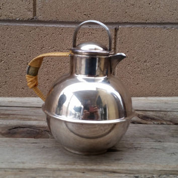 Vintage International Silver Co Silver Plated Petite Teapot With Wicker Handle
