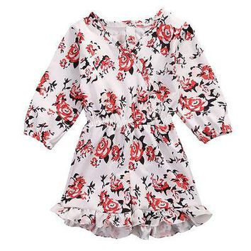 Helen115 Pretty Newborn Baby Girls Floral Printed Full Sleeve V neck Cotton Dresses 0-24M