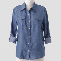 Open Country Chambray Top