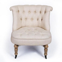 Off-White Fabric Tufted Armchair