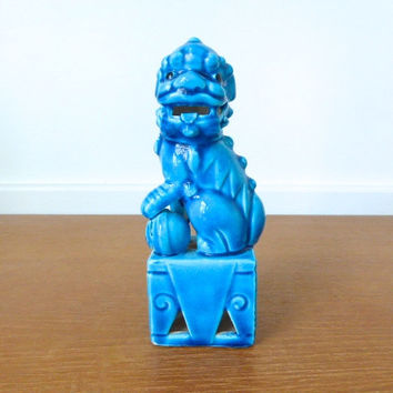 Aqua blue foo dog or shi made in Japan