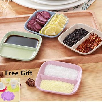 4pcs/set Soy Sauce Dish fish plate square Tray Dish Korea Household Tableware Wheat PP For Children Kitchen Cooking Tool Dinner