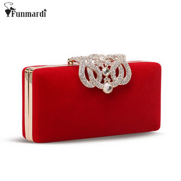 Hot sale crystal diamond design crown velour chain women bags,clutch bags,evening bags, bolsas WLHB993
