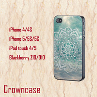 Mandala in Ocean iphone 5c case,teal sea iphone 5s case,cute iphone 5 cases,pattern ipod 5 case,tribal touch 4/5 case,cool iphone 4s case.