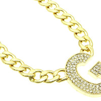 NECKLACE / LINK / METALCHAIN / CRYSTAL STONE PAVED / LETTER G / 1 3/4 INCH DROP / 18 INCH LONG / NICKEL AND LEAD COMPLIANT