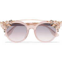 Jimmy Choo - Vivy/S round-frame embellished acetate and gold-tone sunglasses