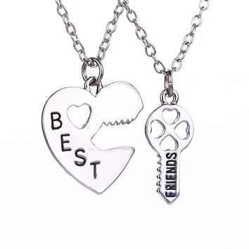 2 Pcs/set Friendship Heart Key Pendant Necklaces Silver Chain BEST FRIEND Couple Necklace For Brother Sister Bff Gift Collares