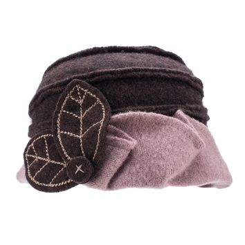 Lawliet Two-Tone Womens Ladies Winter 1920s 100% Wool Leaf Bucket Beret Cap Hat A375