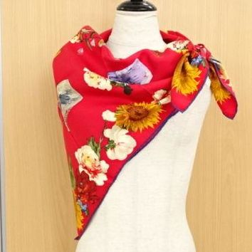 MNT Auth GUCCI Scarf Flower Red 100% Silk Italy Free Shipping 23141286500 AP