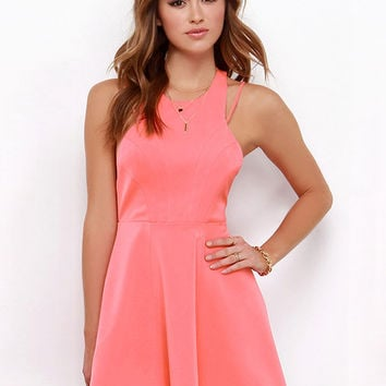 Sleeveless Halter Backless A-Line Mini Skater Dress