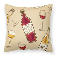 Red and White Wine Fabric Decorative Pillow BB5196PW1414