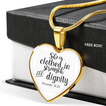[Exclusive] She Is Clothed In Strength And Dignity Heart Necklace