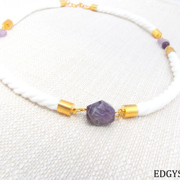 Amethyst Statement Necklace, Gemstone Rope Necklace, Gemstone Bib Necklace, White Rope Necklace, Chunky Gold Necklace