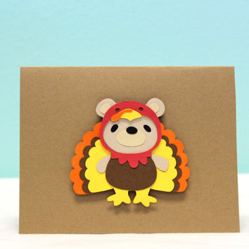 Thanksgiving Card - Turkey - Bear in Disguise - Thank You Card