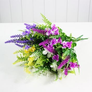 5 Heads Artificial Butterfly Lavender Bouquet