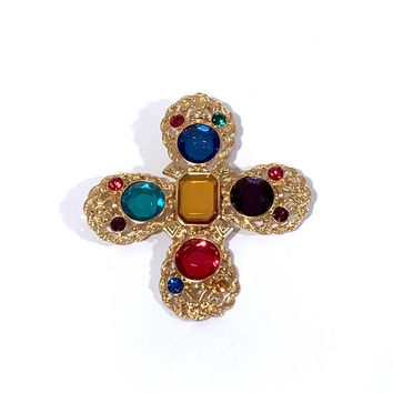 Rhinestone Maltese Cross Brooch, Byzantine Style, Multi Color, Jewel Tones, Ornate Gold Tone, Twisted Rope Edging, Open Work, Vintage 1960s