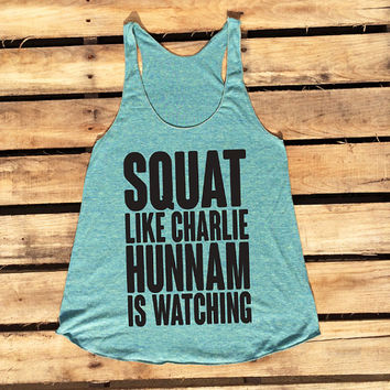 Squat like Charlie Hunnam is watching tank - blue with black ink