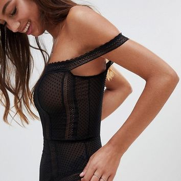 ASOS DESIGN Willow Spot & Lace Trim Bardot bodysuit at asos.com