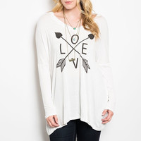 Plus Size Love & Arrow Graphic Printed Long Sleeve Top in Ivory