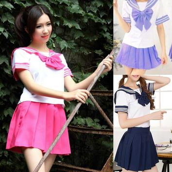 Japanese School Uniform - 2017 Newest Sexy Sailor Costumes 7 COLORS Anime Girls Dress Cosplay Costume free shipping