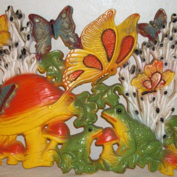 Homco Hippie Psychedelic Butterfly shroom and Frog Wall Art/Wall Hanging-70s Home Decor-Set of 2