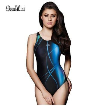 Women's one piece professional athletic swimsuit racing triangle sport bodysuits competition swimwear 2XL