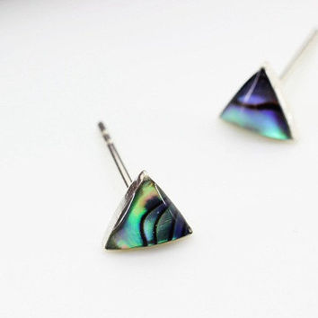 Abalone Shell Stud Earrings Silver, Natural Shell Beach Jewelry, Tiny Teal Blue Abalone Triangle Earrings, Sterling Silver Studs Handmade