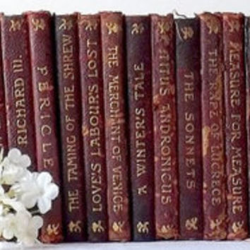 Antique Shakespeare Red Leather Small Book Set of 26, Vintage Instant Library Collection, Shabby Cottage Home Decor, Wedding Table Display