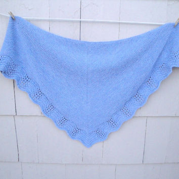 Lace Edged Shawl, Prayer & Comfort, Hand Knit, Blue, Large Cozy Shawl Wrap