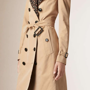 New Leopard Turn-Down Collar Women trenchcoat Fashion Double Breasted Khaki Coat S9141