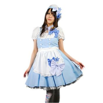 MOONIGHT 5 Pcs Alice in Wonderland Costume Lolita Dress with Bow Maid Cosplay Carnival Halloween Costumes for Women