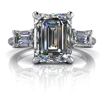 Emerald cut Three Stone Engagement Ring - Celestial Premier Moissanite - Customize Your Ring