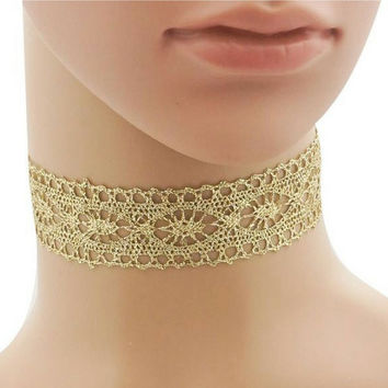 Gold Metallic Lace Crochet Choker Necklace
