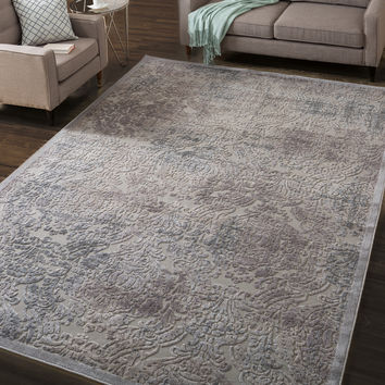 Nourison Graphic Illusions Grey Antique Damask Pattern Rug (7'9 x 10'10) | Overstock.com Shopping - The Best Deals on 7x9 - 10x14 Rugs