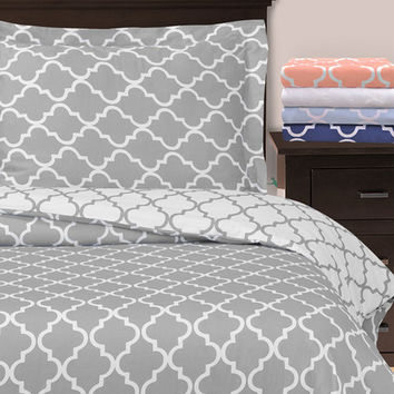 Home City Gray Trellis Reversible Duvet Cover Set | zulily