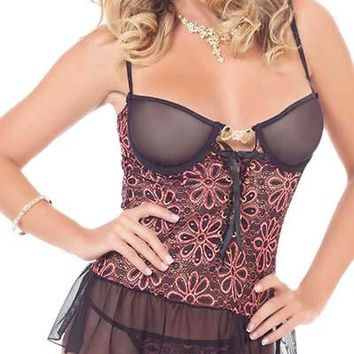 Cheeky Peek Floral Lace Underwire Tutu Skirted Corset with G-String