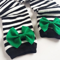 St Patrick's Day Green Bow, Black and White Striped Bow baby leg warmers with green, white, lime bow