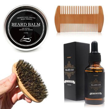 Cosprof Beard Oil ,Balm ,Brush and Comb Kit for Men-Beard Care Gift Set with Organic Ingredients Mustache Moisturizing Wax Set