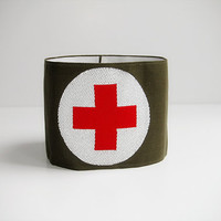 Swiss Army Military Brassard with Red Cross Insignia / Medical Band / Army Green and White / Reversible