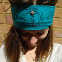 Wide Colorful Rhodonite Teal Moon Sun Jersey Headband - Gypsy Hippie Boho Headband - Yoga Headband - Meditation Headband - Crystal Healing