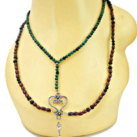 Two Strand Malachite and Brown and Black Bead Necklace with Scroll Heart Connector With Dangle